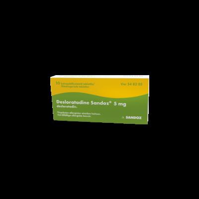 DESLORATADINE SANDOZ 5 mg tabl, kalvopääll 30 fol