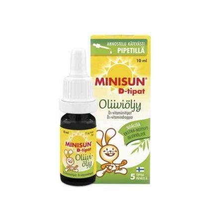 MINISUN D-TIPAT OLIIVIÖLJY 10 MIKROG/5 TIPPAA 10 ML